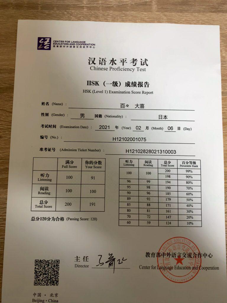 HSK1級合格証